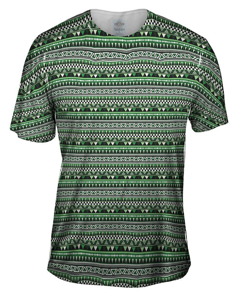 Tribal Green Aztec Warrior Mens T-Shirt