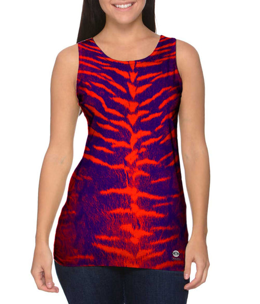 Tiger Leopard Skin Orange Purple Woman's Tank Top