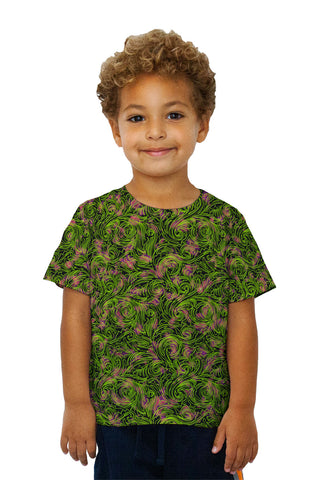 Kids Autumn Me Green Leaf Swirls Pattern