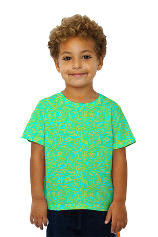 Kids Autumn Me Aqua Leaf Swirls Pattern