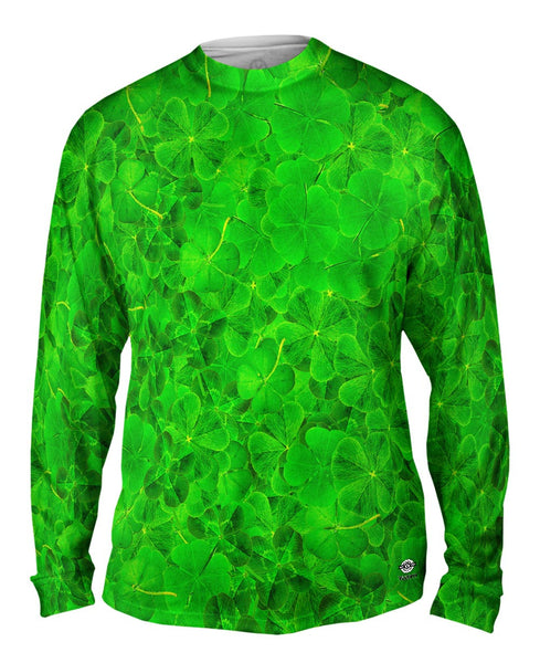 Luck Of The Irish Four Leaf Clover Mens Long Sleeve