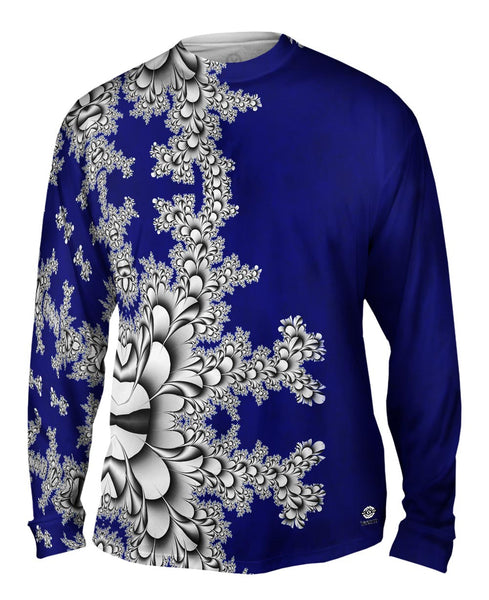 Titanium Floral Fractal Mens Long Sleeve