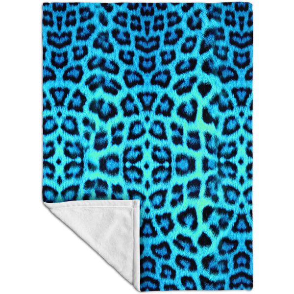 Neon Blue Leopard Animal Skin Fleece Blanket