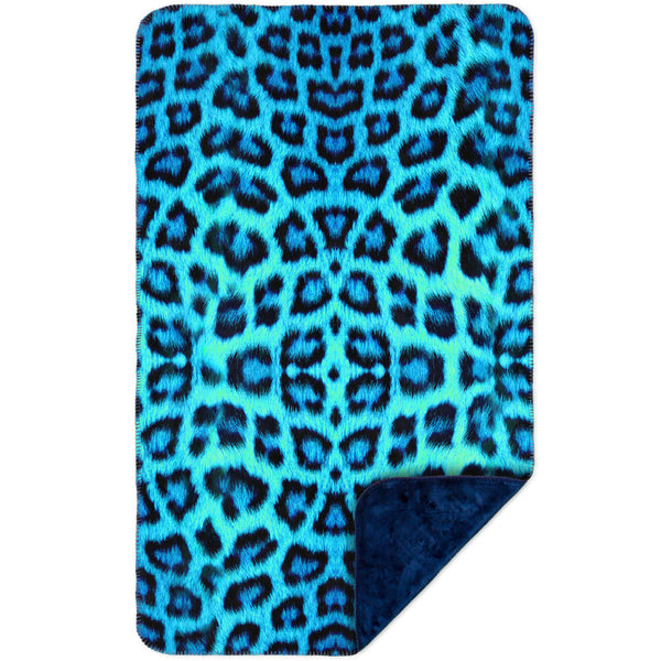 Neon Blue Leopard Animal Skin MicroMink(Whip Stitched) Navy