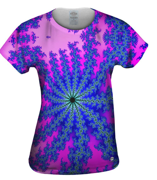 Blue Pink Flower Vector Womens Top