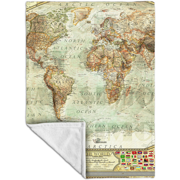 Ash World Map Fleece Blanket