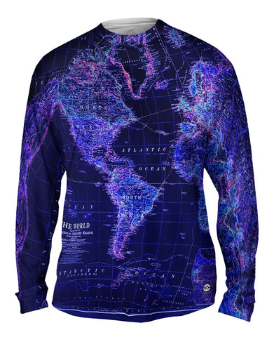 World Map Neon Close