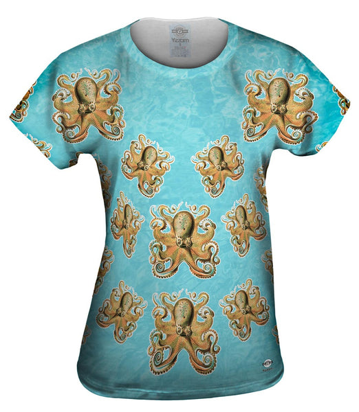 Cheerful Orange Octopus Womens Top