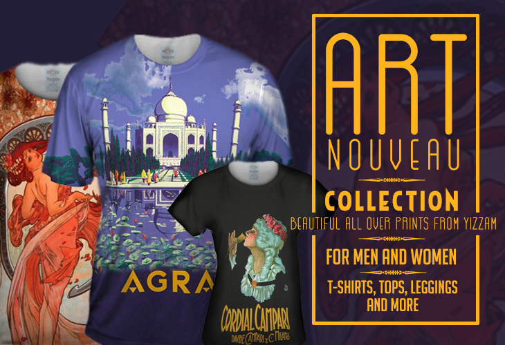 Art Nouveau All Over Print Art T-Shirts, Tops, Tanks and More