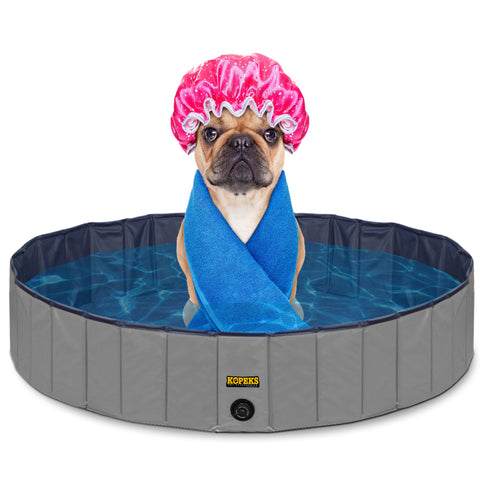 Pet Pool Outdoor Swimming Pool Bathing Tub Grey Size Small