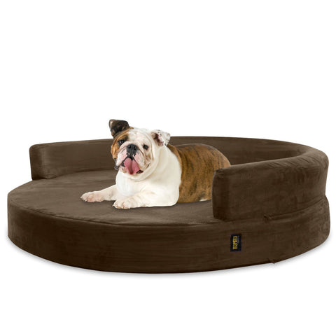 Dog Bed Round Deluxe Orthopedic Memory Foam Sofa Lounge Large - Brown - UPC 016463335641