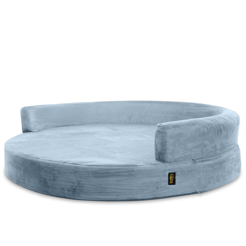 Dog Bed Round Deluxe Orthopedic Memory Foam Sofa Lounge Large - Grey