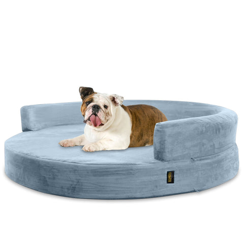 Dog Bed Round Deluxe Orthopedic Memory Foam Sofa Lounge Large - Grey - 016463335658