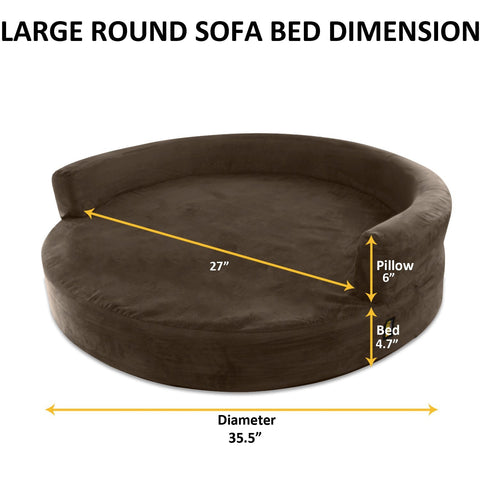 Dog Bed Round Deluxe Orthopedic Memory Foam Sofa Lounge Large - Brown