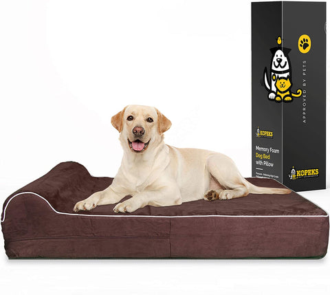 Orthopedic Memory Foam Bed With Pillow Brown - Extra Large