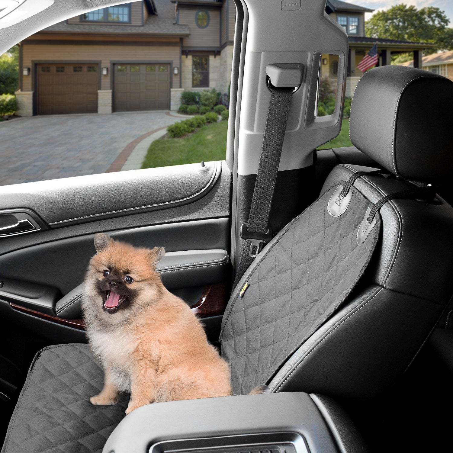 Dog Cover Car Front Seat For Pet Waterproof  - Black