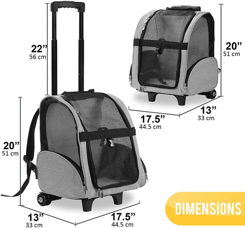 Deluxe Backpack Pet Travel Carrier with Wheels - Approved by Most Airlines - Grey