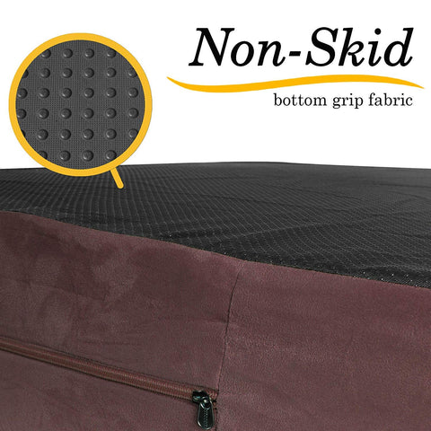 Orthopedic Memory Foam Bed With Pillow PLUSH Brown - Extra Large