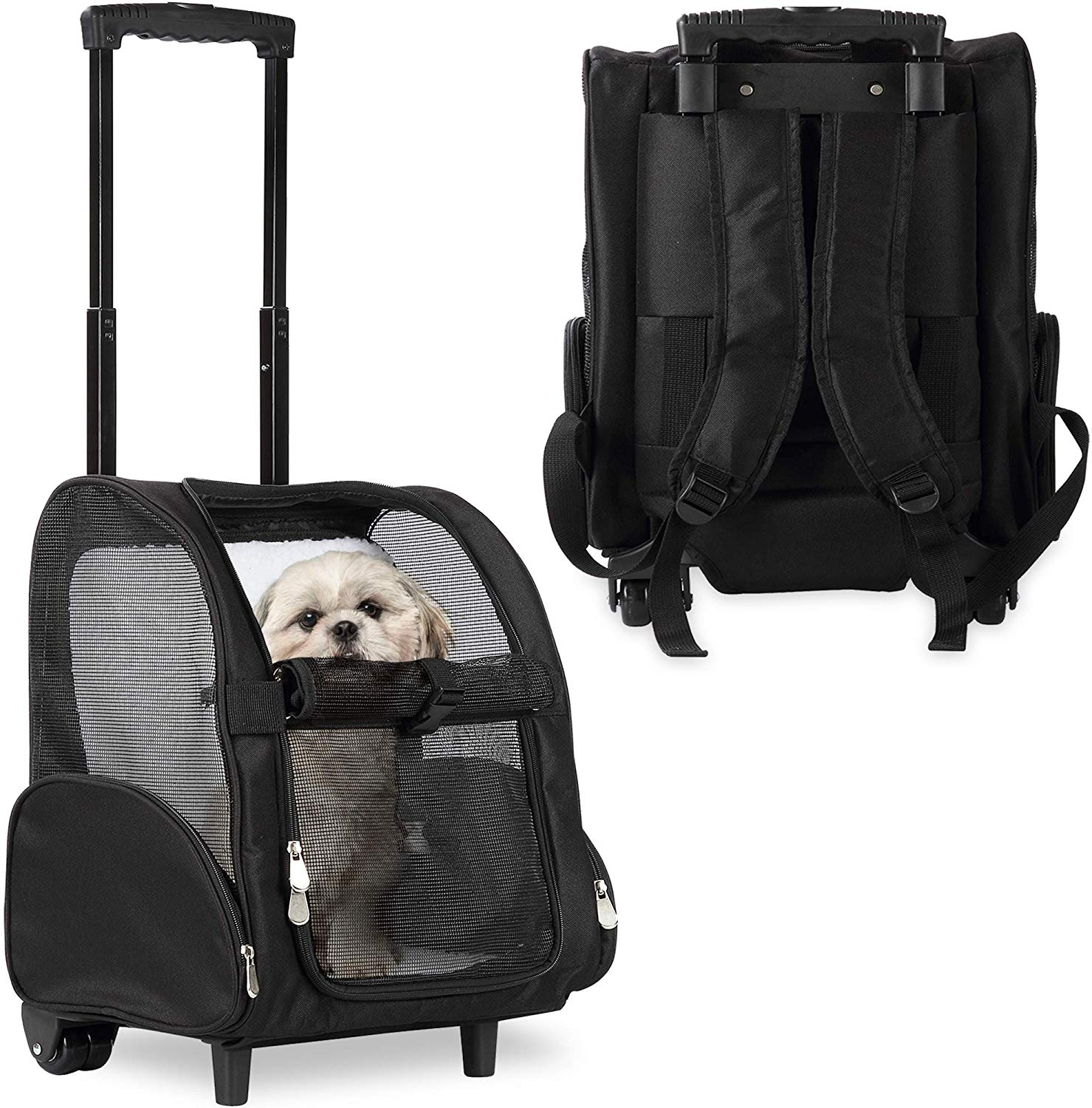 Deluxe Backpack Pet Travel Carrier with Wheels - Approved by Most Airlines - Black