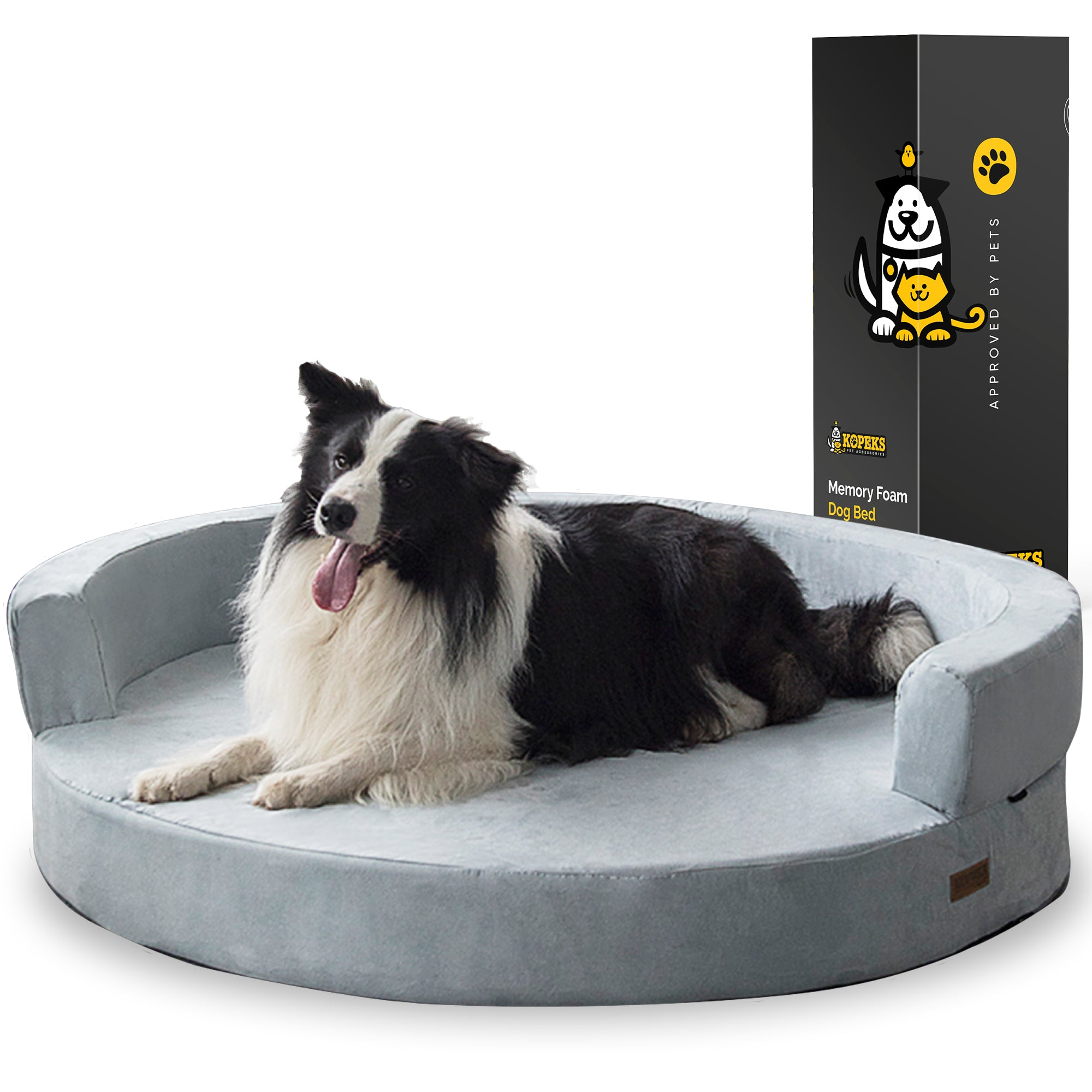 Dog Bed Round Deluxe Orthopedic Memory Foam Sofa Lounge XL - Grey