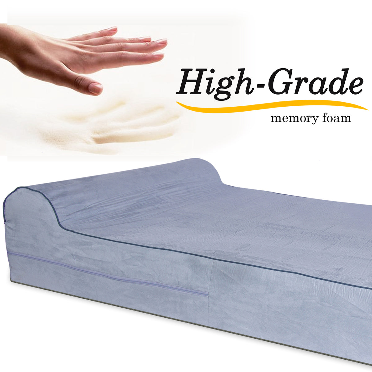 Orthopedic Waterproof Memory Foam Bed With Pillow Grey Large Kopeks