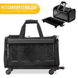 Pet Carrier with Detachable Wheels for Small and Medium Dogs & Cats - Black