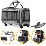 Pet Carrier with Detachable Wheels for Small and Medium Dogs & Cats - Grey
