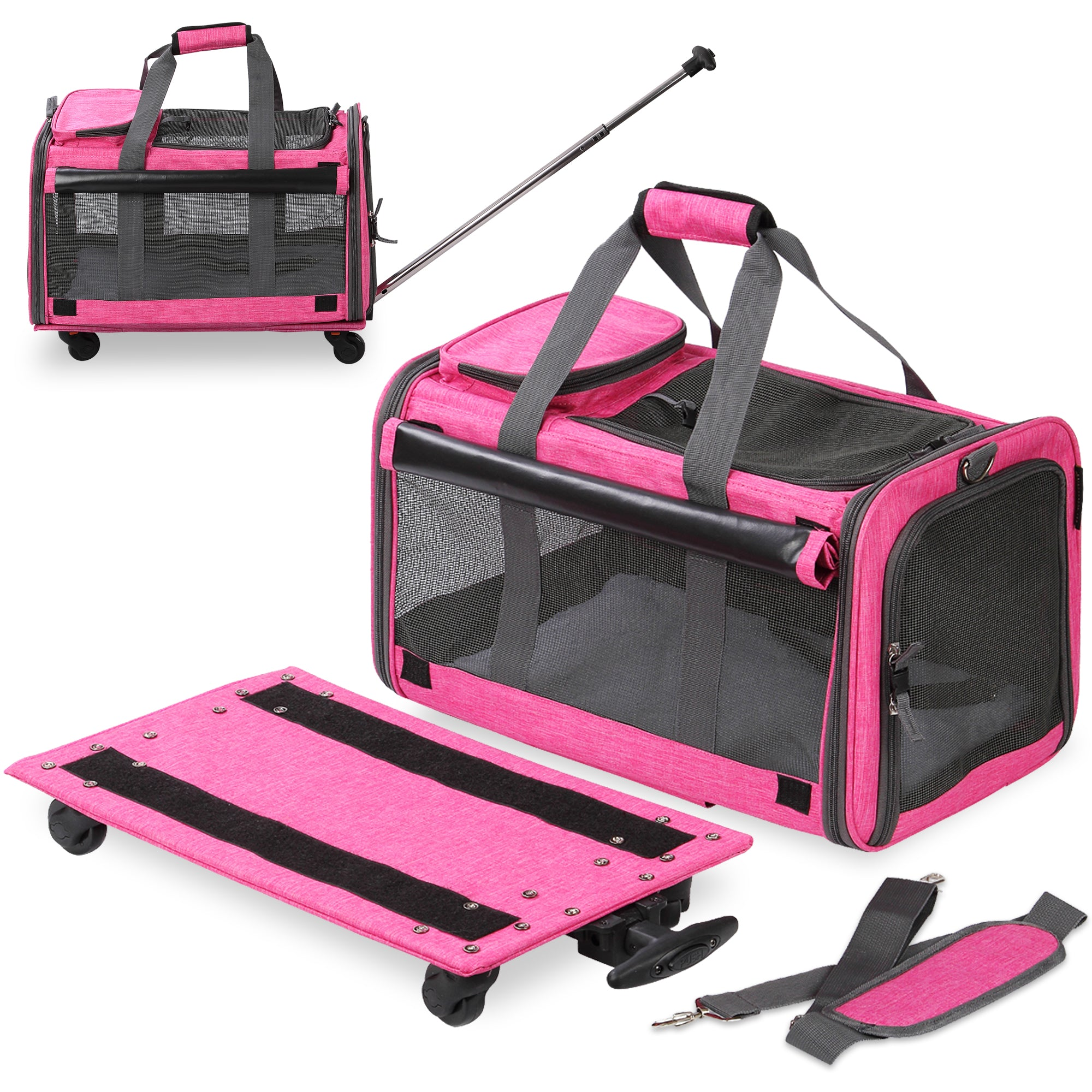Pet Carrier with Detachable Wheels for Small and Medium Dogs & Cats - Pink