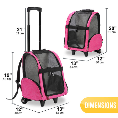 Deluxe Backpack Pet Travel Carrier with Wheels - Approved by Most Airlines - Pink