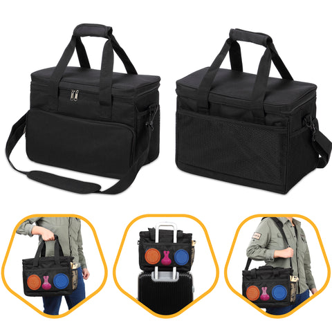 Cat and Dog Travel Bag - Airline Approved - Includes 2 Food Carriers, 2 Bowls & Place Mat - Black
