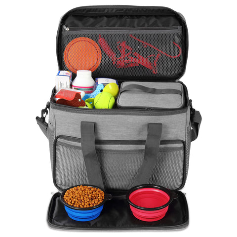 Cat and Dog Travel Bag - Airline Approved - Includes 2 Food Carriers, 2 Bowls & Place Mat - Grey