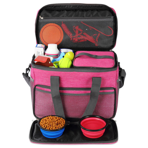 Cat and Dog Travel Bag - Airline Approved - Includes 2 Food Carriers, 2 Bowls & Place Mat - Pink