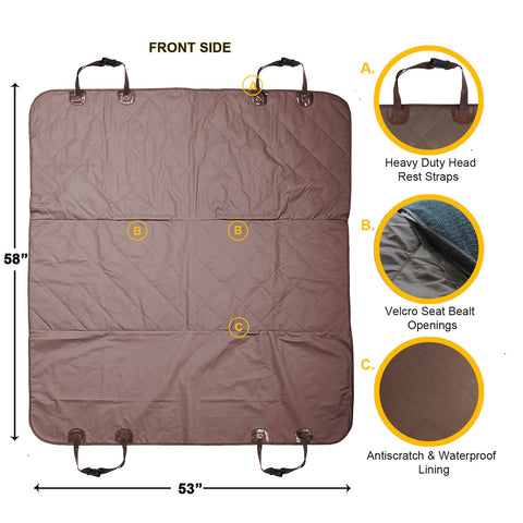 Dog Car Seat Cover Back Seat Protector For Pets - Brown