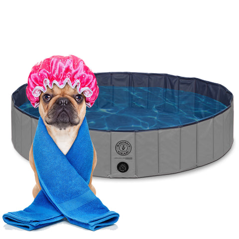 Pet Pool Outdoor Swimming Pool Bathing Tub Grey Size Extra Large