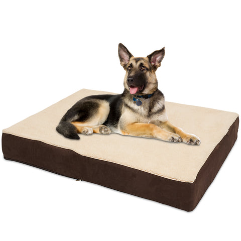 KOPEKS Rectangular Orthopedic Memory Foam Dog Bed - Includes Waterproof Inner Protector & Removable Cover - Brown - Extra Large