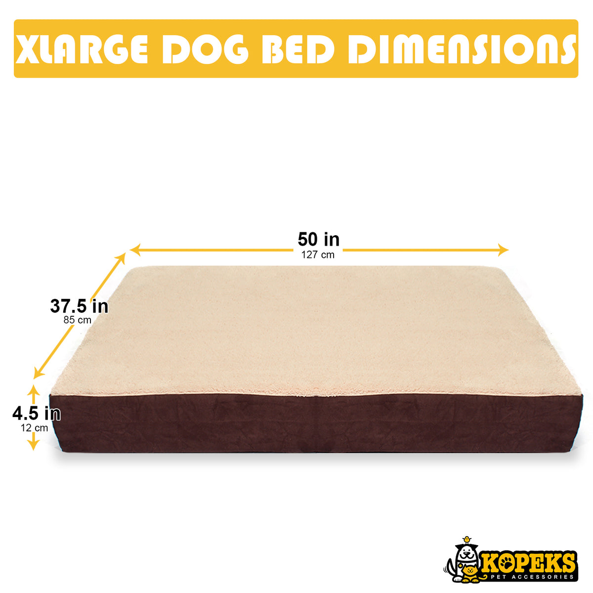KOPEKS Rectangular Orthopedic Memory Foam Dog Bed PLUSH