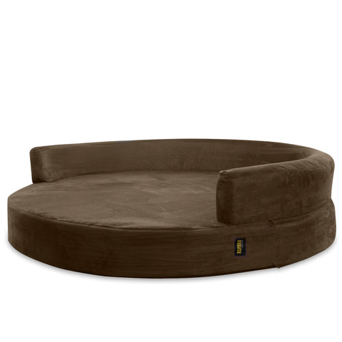 Dog Bed Round Deluxe Orthopedic Memory Foam Sofa Lounge XL - Brown