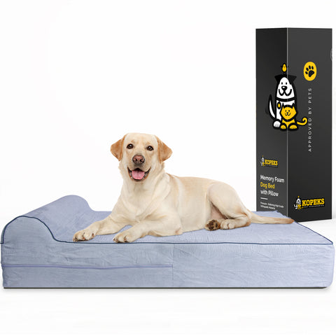 Orthopedic Memory Foam Bed With Pillow Grey - Extra Large