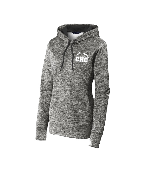 Ladies PosiCharge® Electric Heather Fleece Hooded Pullover