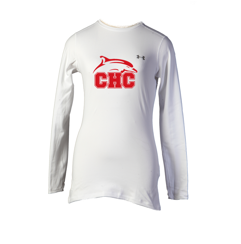 UA White ColdGear® Fitted Long Sleeve Crew - Women's