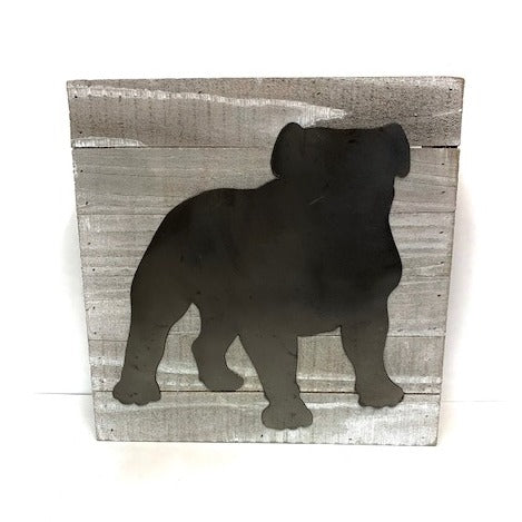 Tin Bulldog on Pallet Sign
