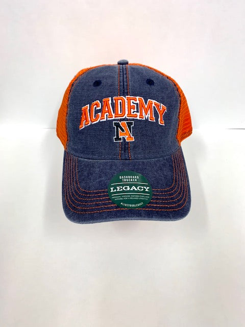 Academy Dashboard Trucker Hat - Navy/Orange