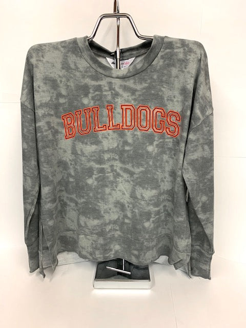 Bulldogs Tie Dye Long Sleeve Top - Ladies