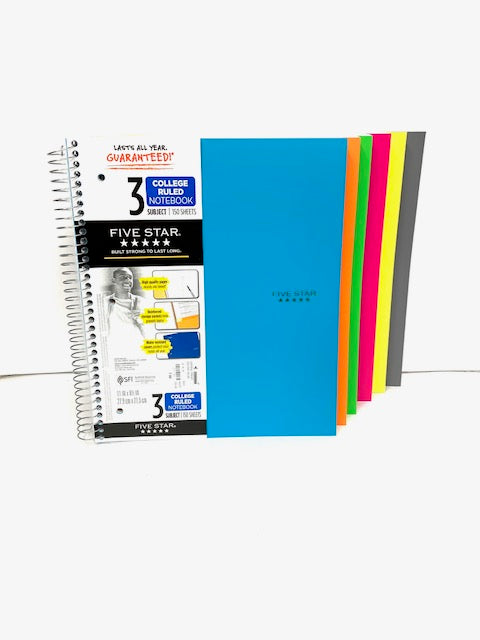 Five Star College Ruled Spiral Notebook - 3 Subject