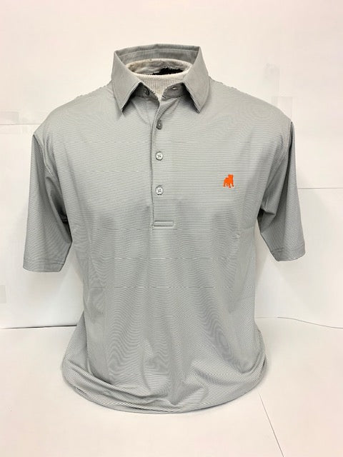 Striped Performance Polo by Horn Legend - Grey
