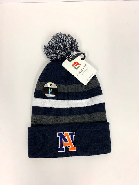 NA Beanie with Stripes and Pom - Youth