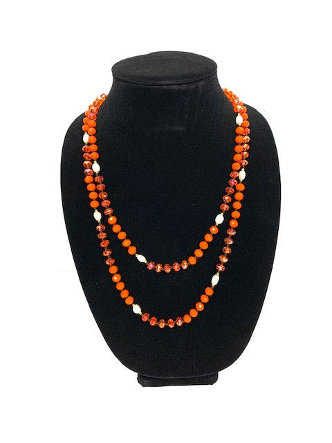 Necklace with Orange and Pearl-like Beads