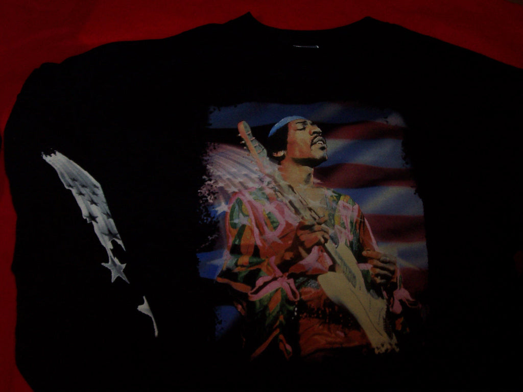 Jimi Hendrix Long Sleeve T-Shirt Stars And Stripes Black Size XXL