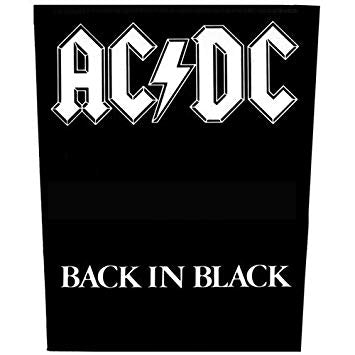 AC/DC Sew On Canvas Back Patch Back In Black Logo
