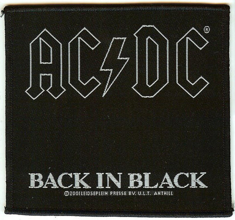 AC/DC Sew On Patch Back In Black Logo